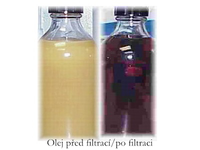 Olej před filtrací a po filtraci - Filtakleen